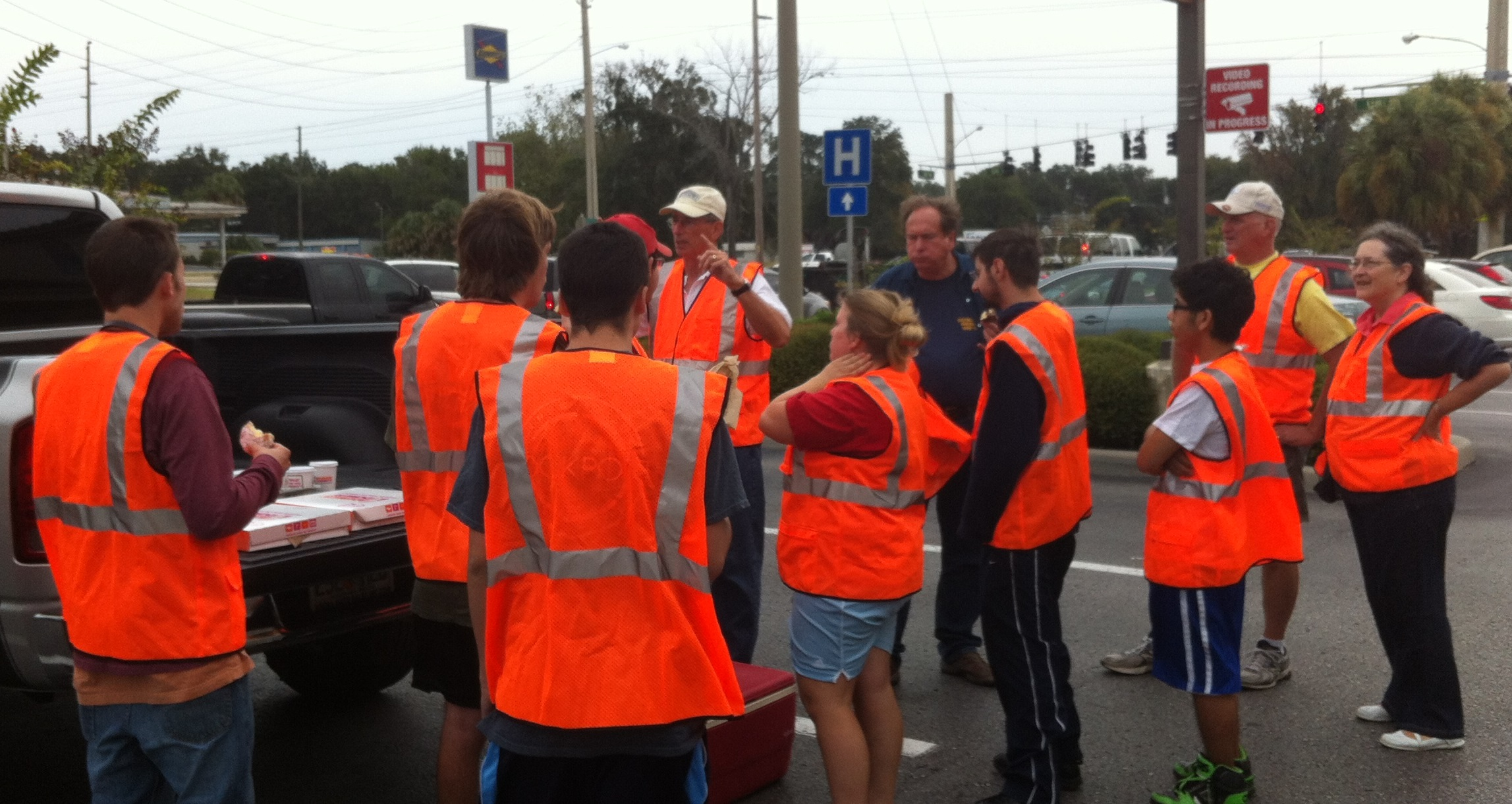 Rotarians and Beacon Students armed for trash pickup